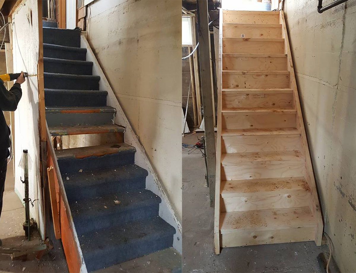 Stair replacement done in residential home build by Dasher Construction