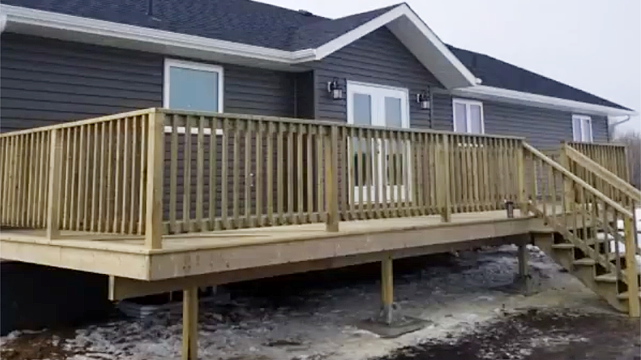 House deck construction in Wainwright